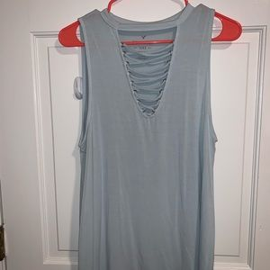 American Eagle lace up front top